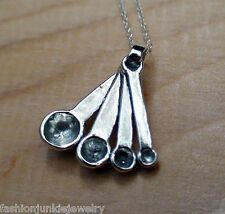 Measuring Spoons Necklace - 925 Sterling Silver -  Charm Chef Bake Cook Kitchen