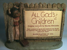 "ALL GOD'S CHILDREN 1988 SERIES SIGN 8""x6"" Martha Holcombe Negro Folk Art"