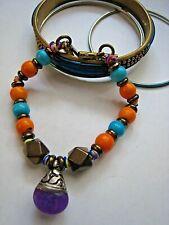 Vanessa Mooney Nepali Bracelet Amethyst Purple Stone Turquoise Orange Logo Charm