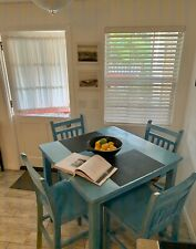 Counter height dining set in Tiffany blue.  Solid wood construction.
