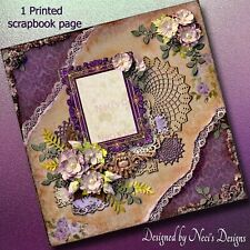Vintage Themed Scrapbook Page with lace, flowers and lots of deep purples