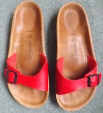 BIRKENSTOCK RED LEATHER SANDALS SIZE 40........EX COND..