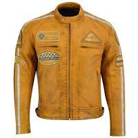 Herren Motorrad Lederjacke Biker Jacke Motorradjacke mit Protektoren gesteppt.