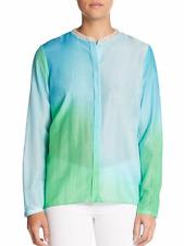 NEW Elie Tahari shirt XS Alejandra white blue green watercolor silk bl top $190