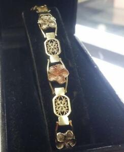 "Beautiful Floral Motif 14k Solid Multi-Tone Gold Bracelet 7"" L 11.6 grams"