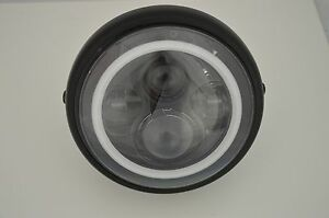 "7.5"" Matte Black Steel LED Motorcycle Motorbike Headlight Halo 4 Eyes Day Maker"