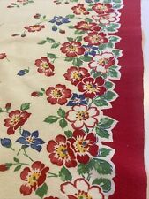 New listing 2 Vintage Kitchen Towels Red & Blue Roses. 18 1/2�x 31� Beautiful! Sturdy Cotton