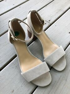 New Michael Kors Womens Sz 7.5M Suede Beige Heel Sandal Mk Shoe