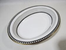 Luxe WEDGWOOD Bone China COLONNADE Black Oval Serving Bowl