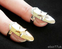 NEW SILVER GOLD STAR DIAMANTE NAIL ART FINGER TIP RING CLAW FASHION GOTHIC PUNK