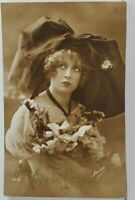 Rppc Viva la France Victorian Era Young Woman Real Photo Postcard O17