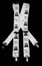 Vtg Floppy Disk Computer Old School IBM Suspenders Braces One Sz Nerd Geek Chic