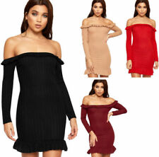 Polyester Long Sleeve Dresses for Women with Ruffle