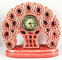 French Majolica Clock Esdeve Art Floral Ceramic Hand Glazed Pink France Pottery