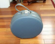 """Vintage American Tourister 17"""" Round Tri Taper Blue Hard Carry On Suitcase"""