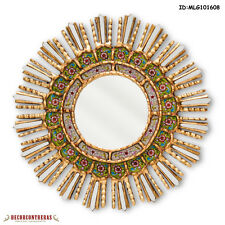 "17.7"" Green Decorative Mirror - Home Wall Decor - Peruvian Sunburst Mirrors"