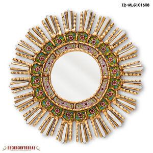 "Green Round Mirror 17.7"", Mirror for Wall Decorative, Peruvian Sunburst Mirrors"
