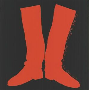 """JIM DINE The red boots on a black ground, 1968 15.25"""" x 15"""" Serigraph  1968 Pop"""