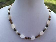 Brown, White Mixed Materials Handmade Necklace - Shell, Glass, Bronze, Tiger Eye