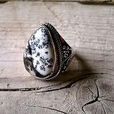 Anillo Plata 925 Opal Dendritic size 7 /17mm anillo boho etnico anillo unisex