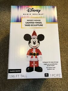 NEW Disney Magic Holiday Mickey Mouse Lighted Tinsel Holiday Yard Sculpture 2 Ft