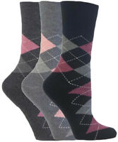 3 Pairs Ladies Grey Pink Charcoal Argyle Cotton Gentle Grip Socks, Size 4-8