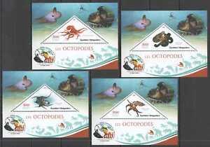 JA44 2019 MADAGASCAR OCTOPUSES MARINE LIFE CHARLES DARWIN PUBLICATION 4BL MNH