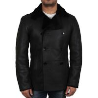 Men Real Shearling Sheepskin Leather Double Breasted Coat Black, Brown And Rust
