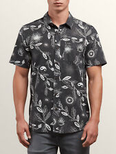VOLCOM Men's S/S Button Shirt BROHA - BLK - Large - NWT
