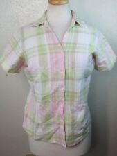 DRESSBARN WOMENS SMALL S BUTTON DOWN SHIRT TOP BLOUSE PLAID & CHECKS COTTON BLND