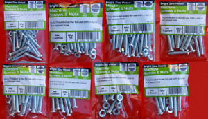 M4 & M5 & M6 ZINC MACHINE PAN HEAD SCREWS / BOLTS SLOTTED WITH FULL NUTS