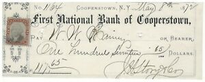 1872 First National Bank of Cooperstown New York 2¢ Revenue Stamp
