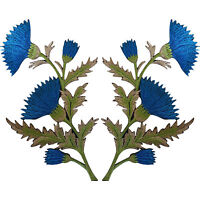 Pair of Blue Thistle Flower Patches Iron Sew On Embroidered Patch Badge Flowers
