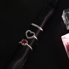 3Pcs Creative Heart Shape Red Ruby Faith And Love Ring Women Fashion Jewelry LG