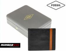 Fossil Men Ennis Traveler Leather Bifold Wallet Black RFID Blocking & GIFT BOX