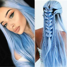 65cm Long Straight Blue Lady Synthetic Hair Wig Heat Resistant  Cosplay Wigs US