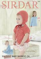 Knitting Pattern Sirdar 4729 Snuggly Baby Bamboo DK Cardigans Bonnet & Blanket