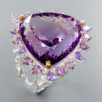 Natural Amethyst Ring Silver 925 Sterling Handmade34ct+ Size 8 /R132926