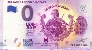 ALLEMAGNE Augsburg, Mozart, 300 ans, 2019, Billet Euro Souvenir
