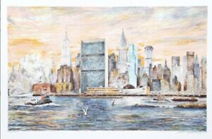 East River by KAMIL KUBIK NYC 1990 Cityscape  Lithograph Signed By Artist