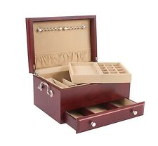 CONTESSA One-Drawer Jewelry Box Chest Case Mahogany Finish Solid Cherry Hardwood