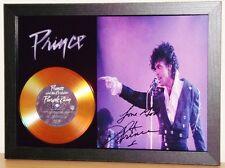 PRINCE 'PURPLE RAIN' SIGNED PHOTO AND GOLD DISC DISPLAY