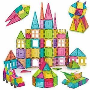 Magna Tiles Clear Colors 124 Pcs 3D Set Magnetic Building Toy smarter 3+kids