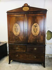 Magnificent 18th Century English Linen Press with Stunning Marquetry Urns c.1790