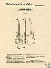 FENDER JAZZMASTER US PATENT Art Print guitar READY TO FRAME 1955 Clarence Jazz
