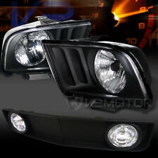 05-09 Mustang V6 Crystal Black Headlights+Hood Grille w/ Fog Lamps