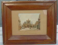 Ecole française du XIXe s. - Place de l'église animée - Aquarelle sur papier