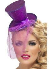 Ladies Women Girl Fever Sexy Mini Top Hat Headband Purple Fancy Dress Burlesque