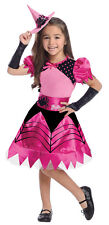 WITCH BARBIE Costume Girls Pink & Black Dress w/ Hat + Gloves Child Small 4 5 6