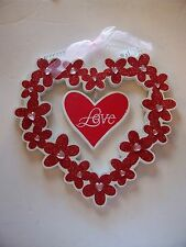 RED AND WHITE WOOD LOVE VALENTINES DAY HEART DECORATION WEDDING DECORATION